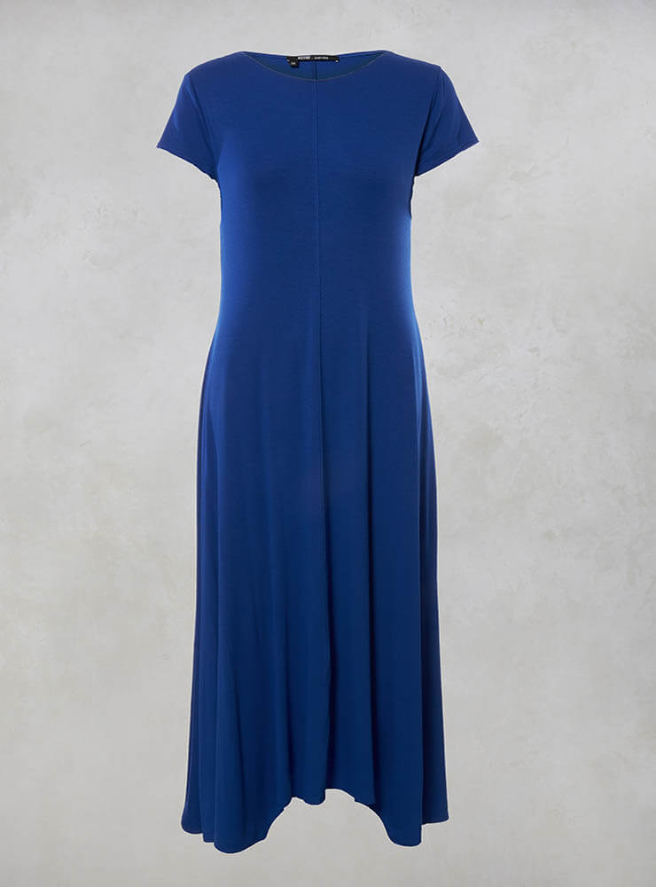 Short Sleeve Maxi Dress with Pockets in Blue