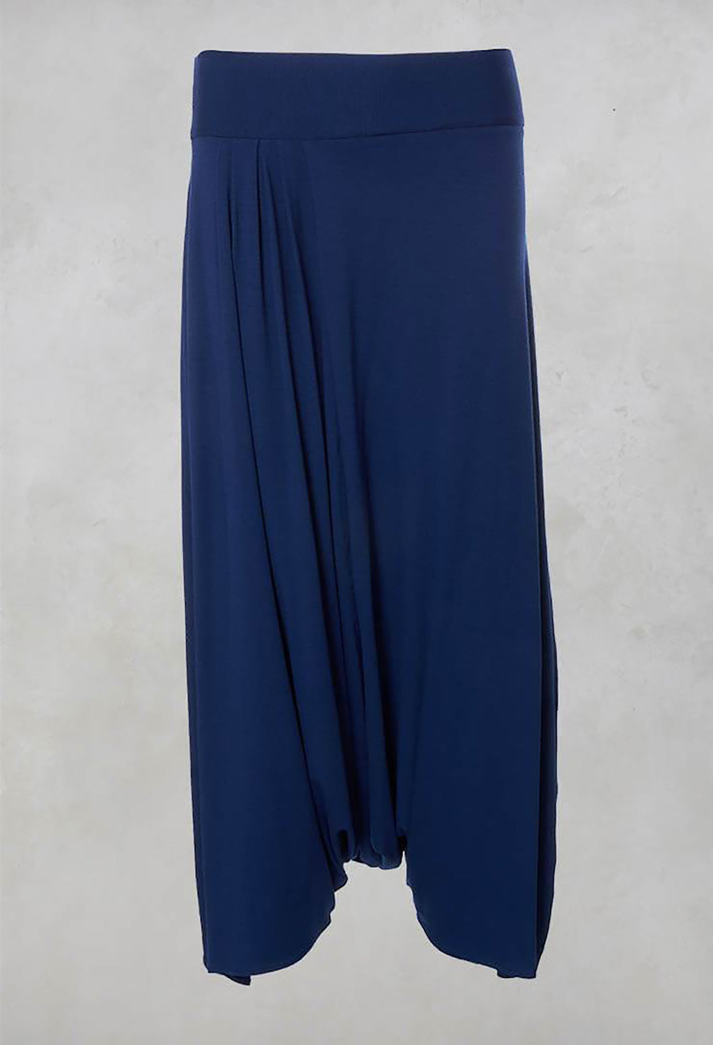 Drop Crotch Hareem Pants with Wide Waistband in Blue