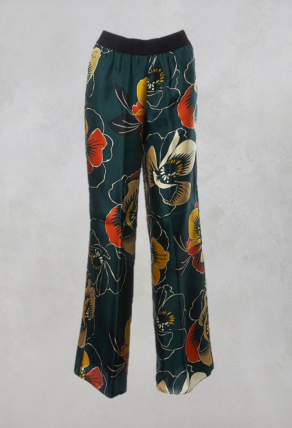 Wide Leg Silk Trousers with Floral Print in Multicolour