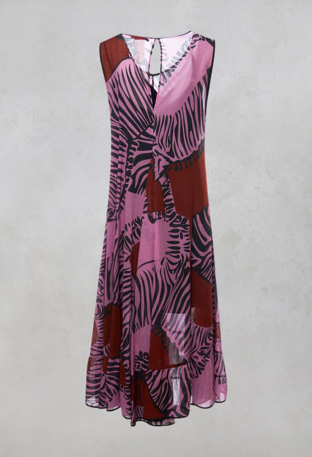 Sleeveless Layered Zebra Print Maxi Dress in Multicolour