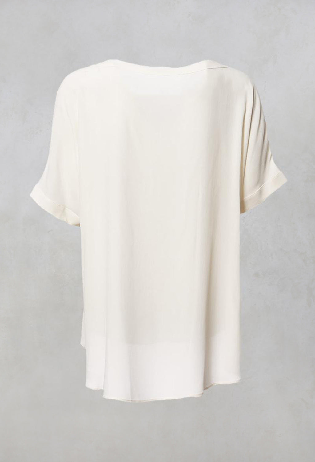 Wide Neck Short Sleeve Silk Blouse in Cream