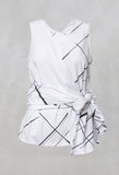 Sleeveless Vest Top with Bow Wrap in White Check