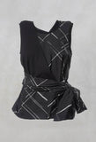 Sleeveless Vest Top with Bow Wrap in Black Check