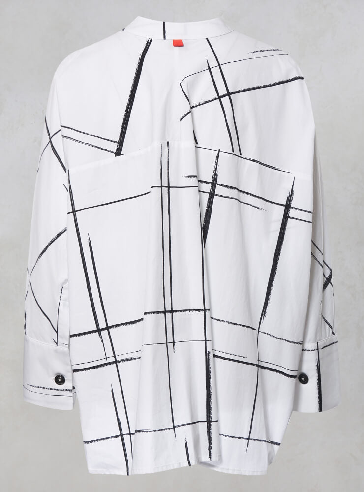 Oversized Shirt Jacket with Grandad Collar in White Check
