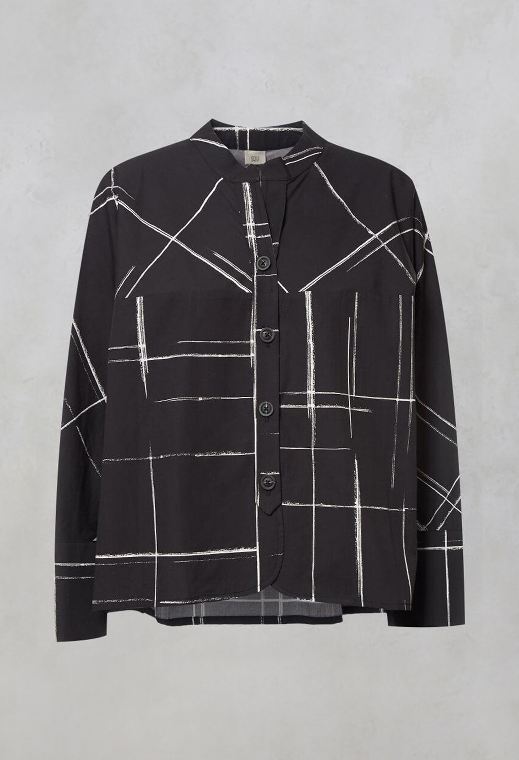 Oversized Shirt Jacket with Grandad Collar in Black Check