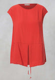 Boxy Top with Drawstring Hem in Coral