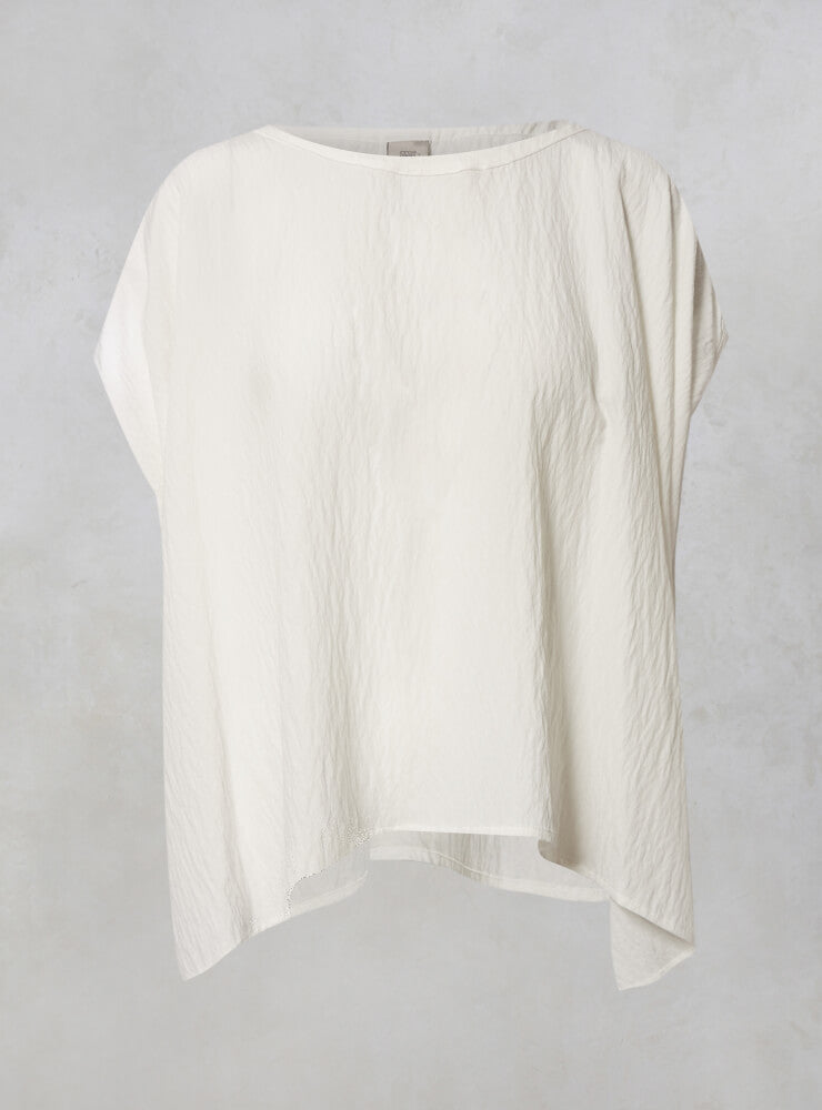 Oversized Cropped Top with Asymmetric Hem in Cream