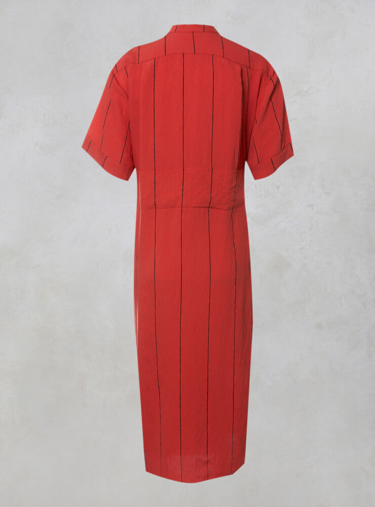 Midi Shirt Dress with Tie Over in Coral and Black Stripe