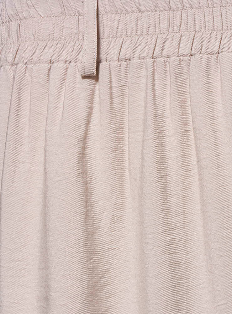 Wide Leg Culottes with Elasticated Waistband in Stone