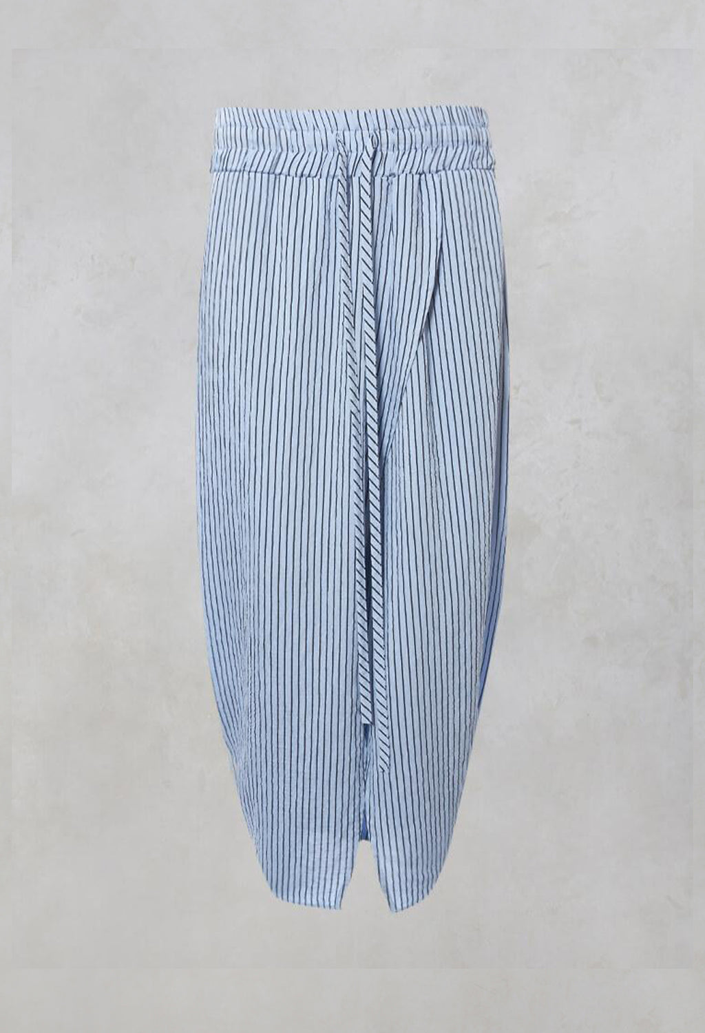 Straight Midi Skirt with Split in Blue and Black Stripe