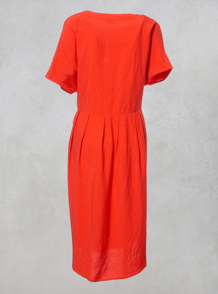 Linen Midi Shift Dress in Coral