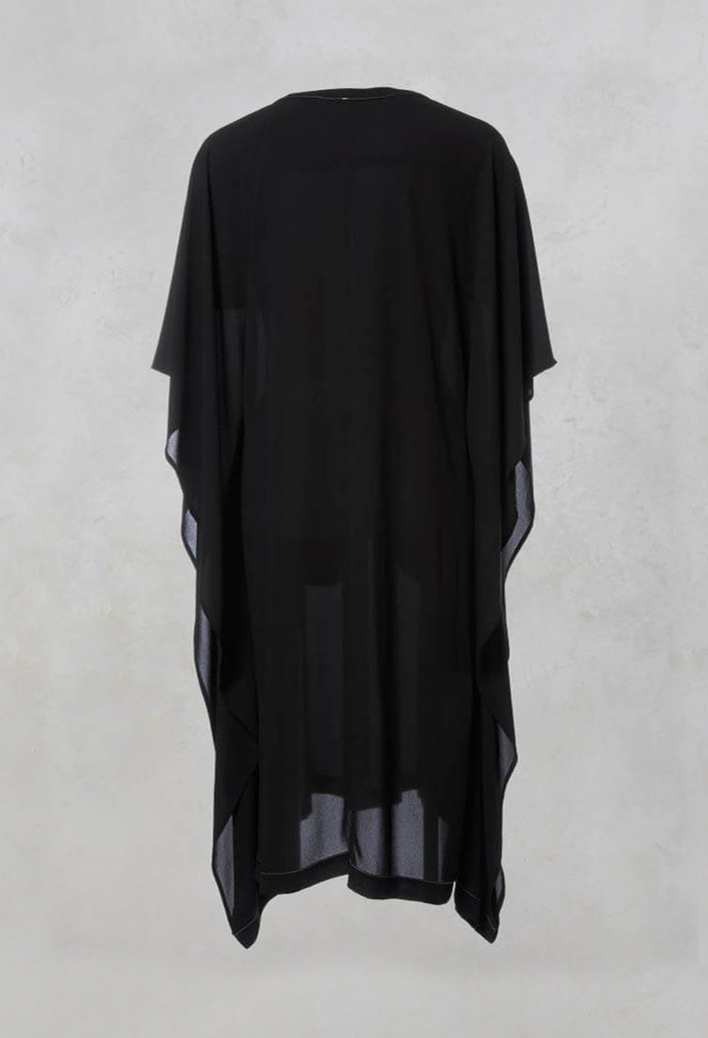 Oversized Midi Dress with Asymmetrical Hem in Black