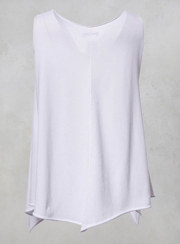 V Neck Sleeveless Top with Asymmetric Hem in White
