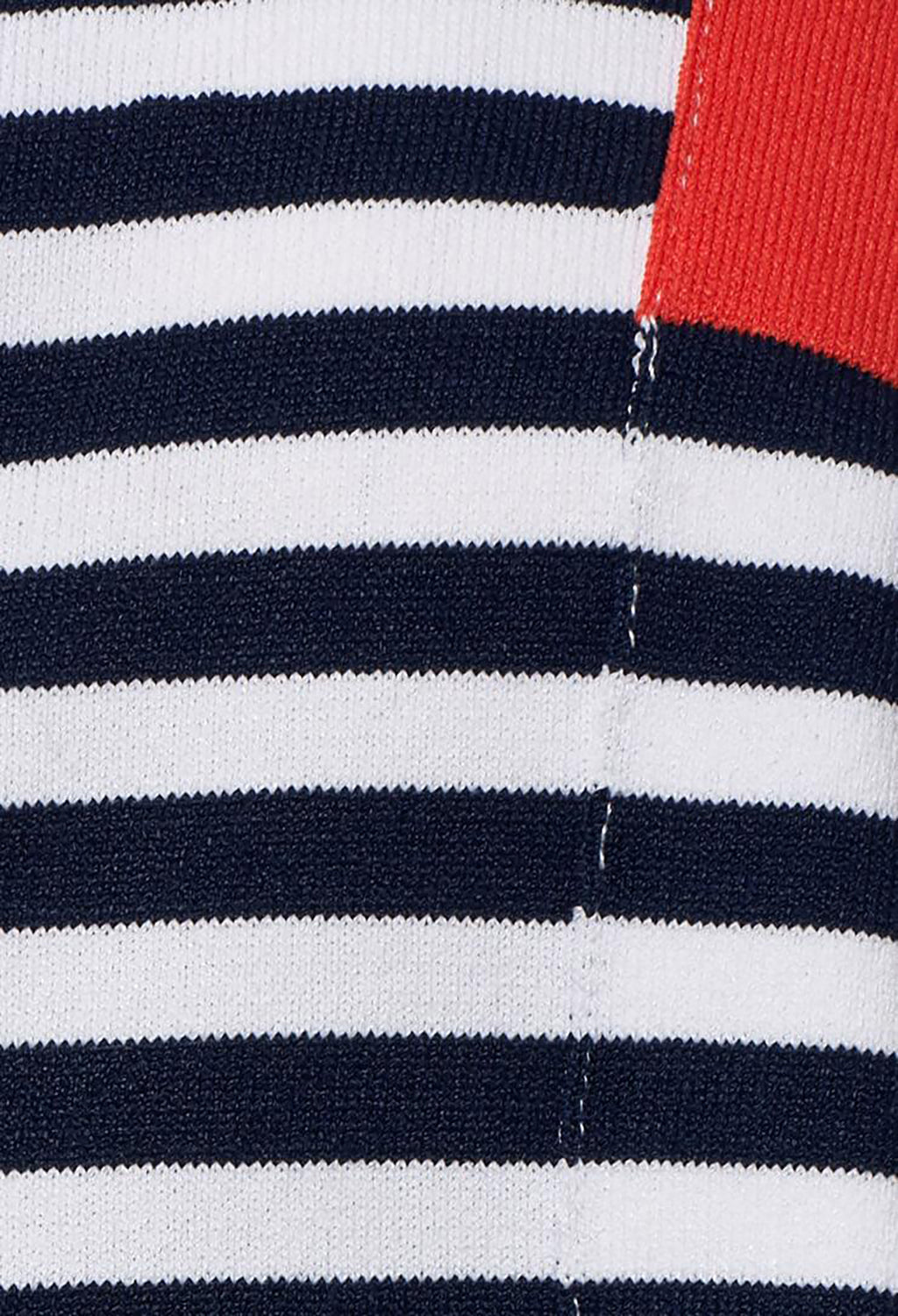 Oversized Top with Asymmetric Hem in Navy and Coral Stripe
