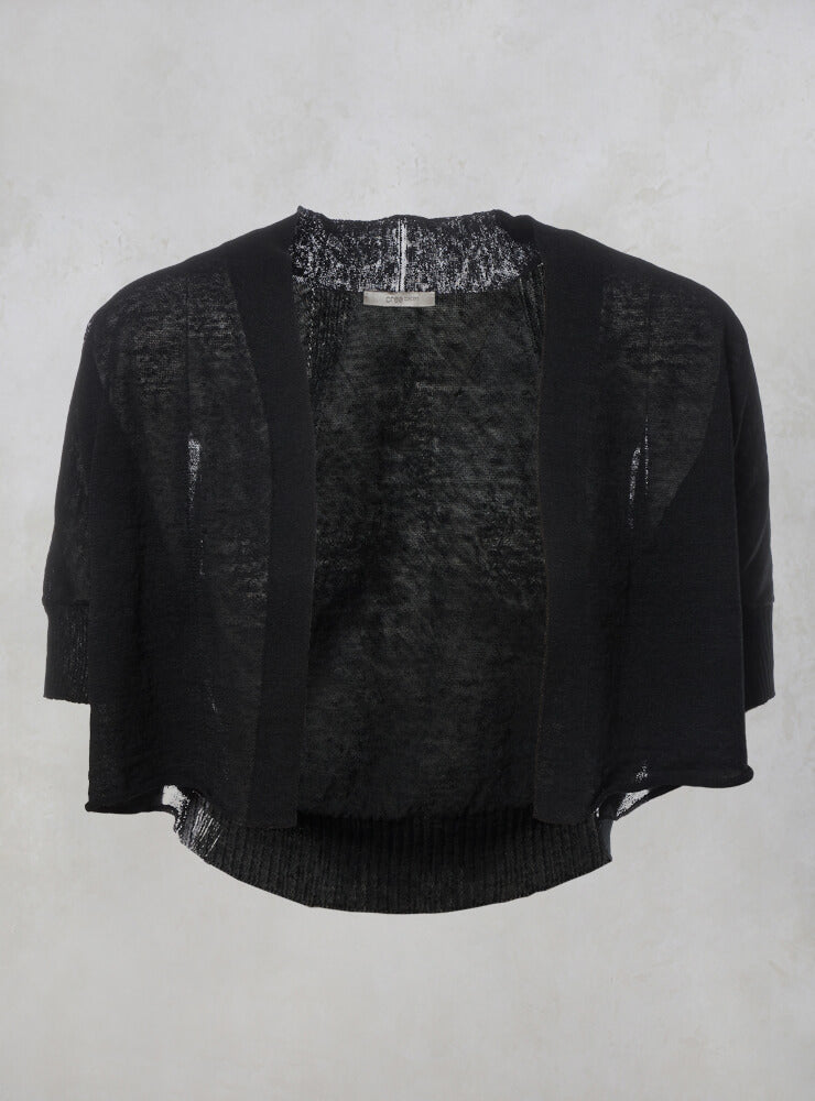 Fine Knit Short Sleeve Cropped Cardigan in Black