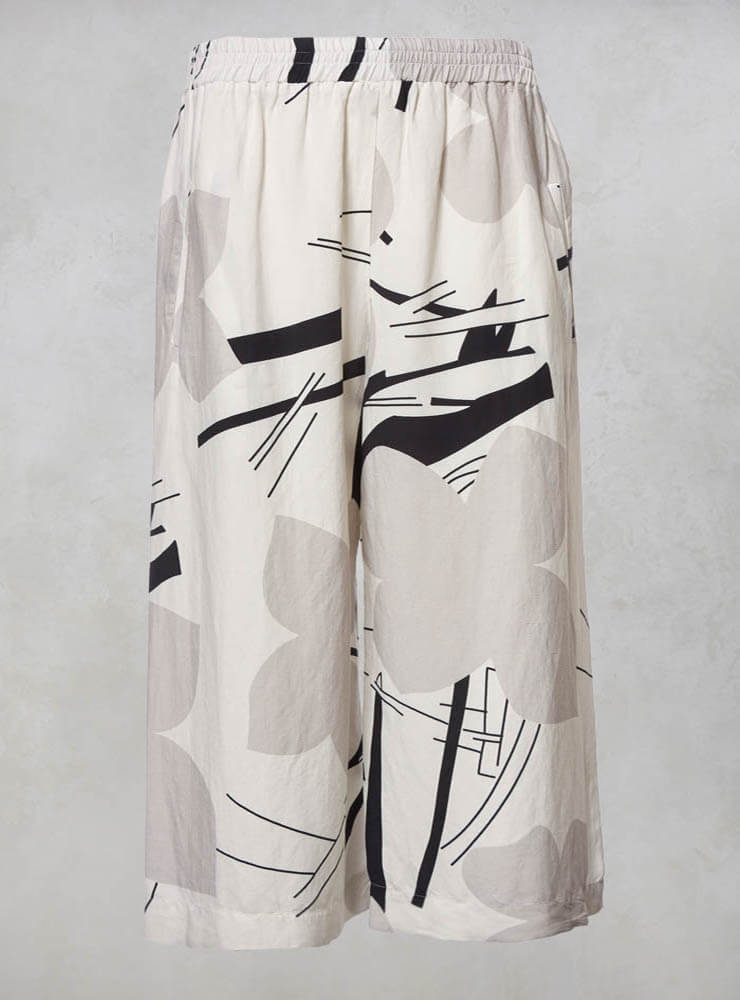 Wide Leg Culottes in Stone and Cream Print