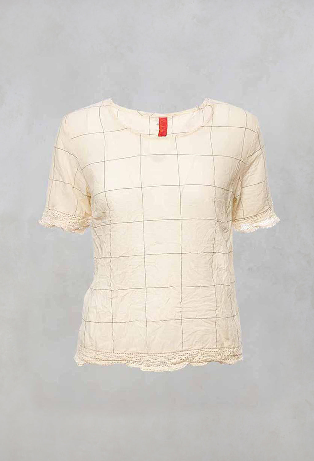 Round Neck Top with Embroidered Hem and Sleeves in Cream
