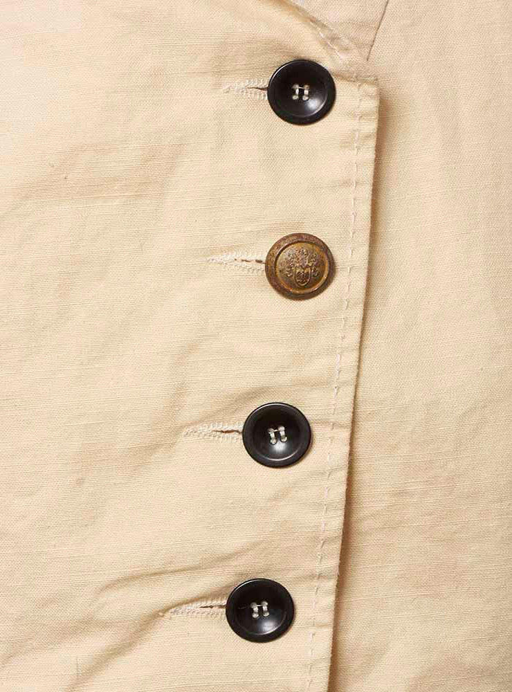 Longline Flared Jacket with Stand Up Collar and Button Details in Cream