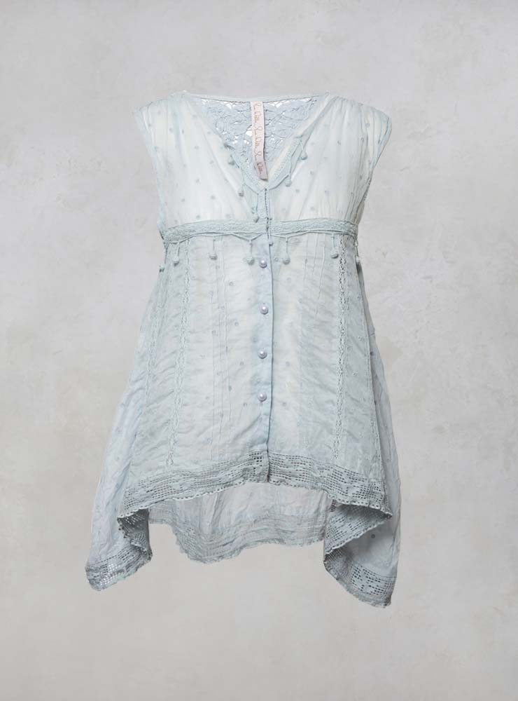 Sheer Top with Lace Detailing in Ice Blue Dot Organdie