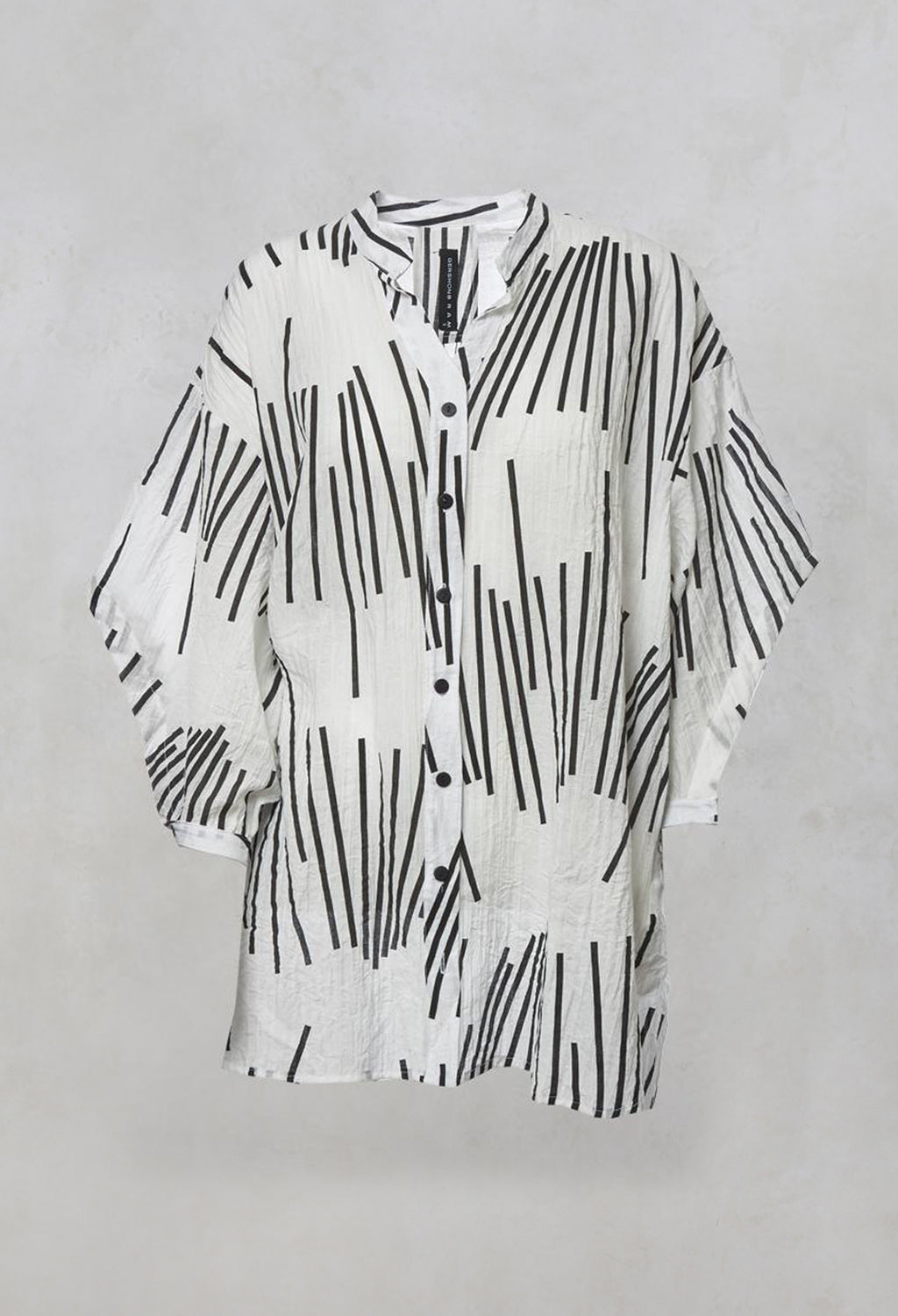 Oversized Shirt with Button Front and Grandad Collar in Black/White Print