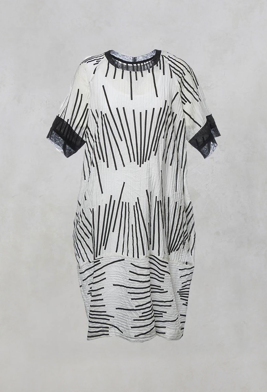Oversized Shift Dress with Netting and Slip Dress in Black/White Print