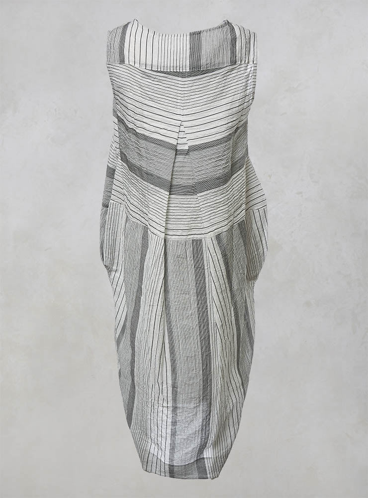 Sleeveless Dress with Slip and Stripe Pattern in Black/White