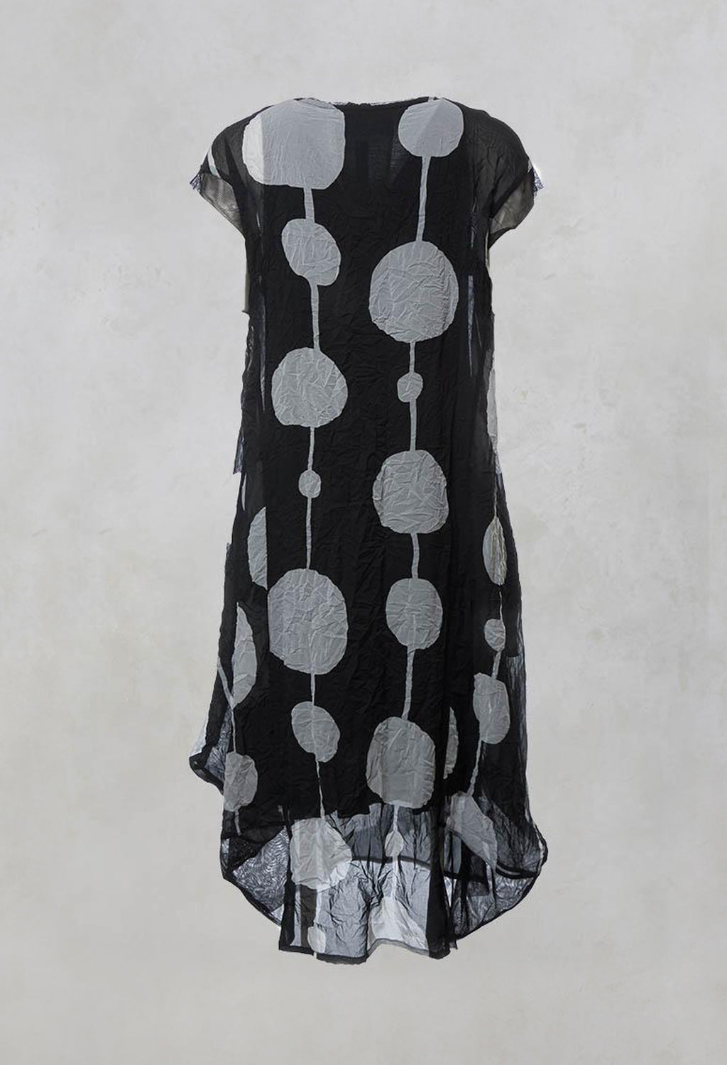 Sheer Dress with Slip and Mesh Detailing in Black/Grey