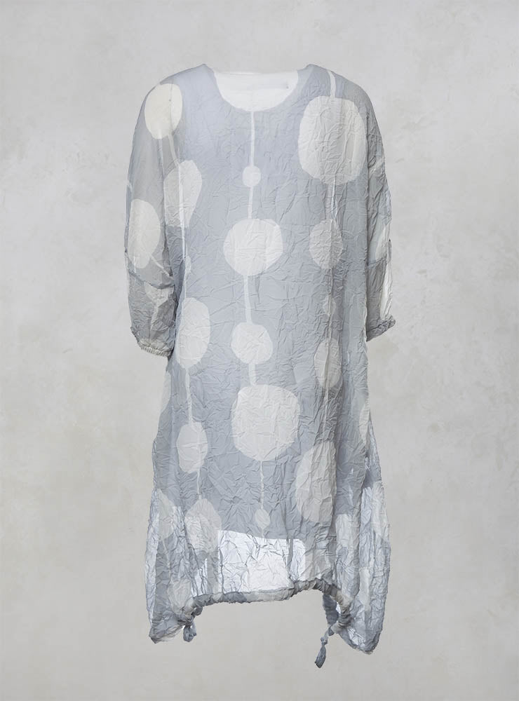 Sheer Dress with Slip and Elasticated Cuffs and Hem in Grey/Offwhite