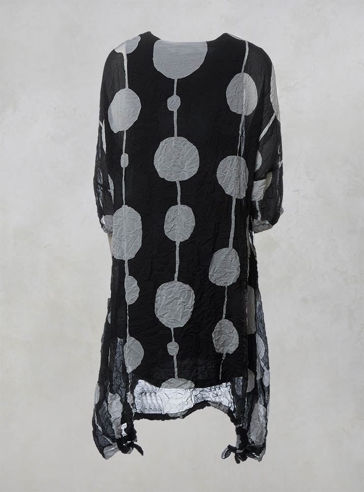 Sheer Dress with Slip and Elasticated Cuffs and Hem in Black/Grey