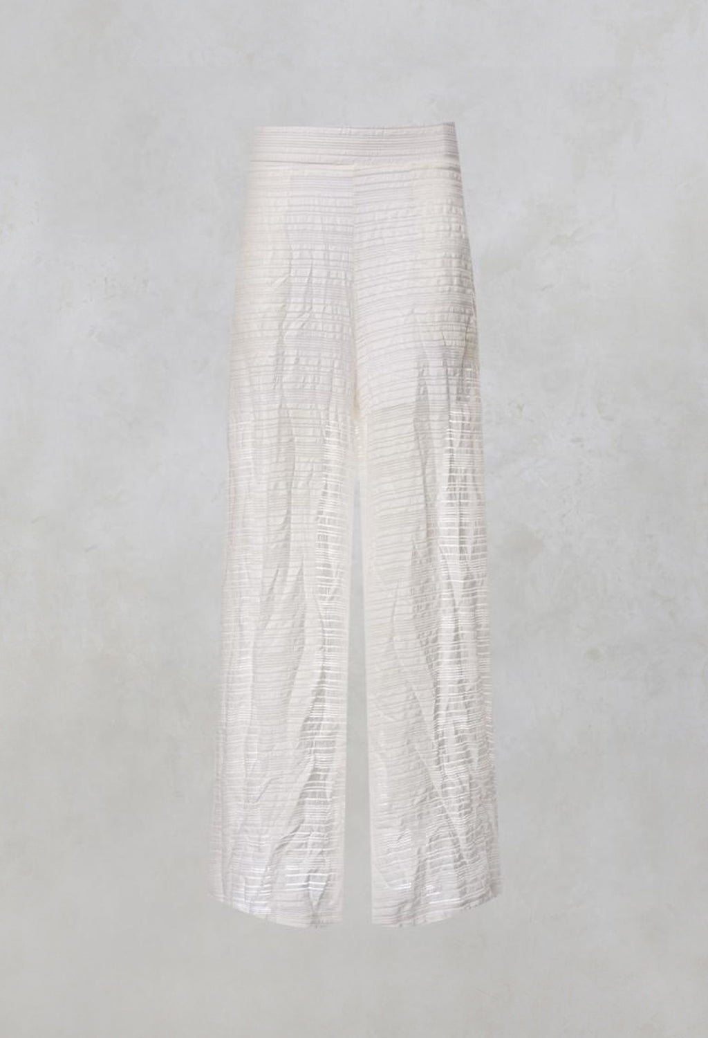 Wide Leg Trousers with Crinkle Effect in Offwhite