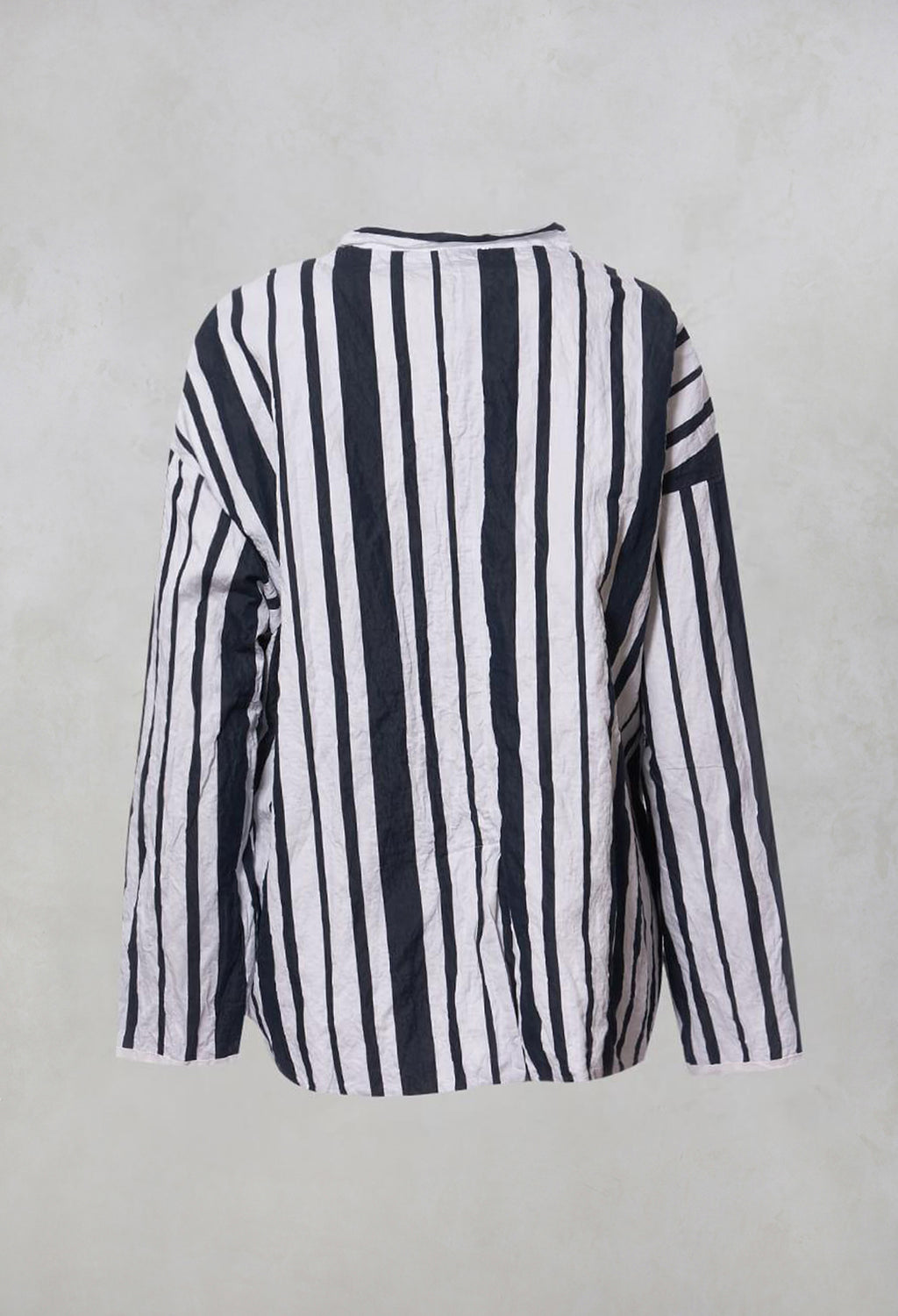 Striped Buttoned Style - Casual Jacket with Grandad Collar in White