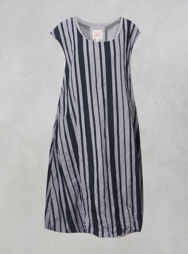 Sleeveless Striped Tulip Dress in Alu