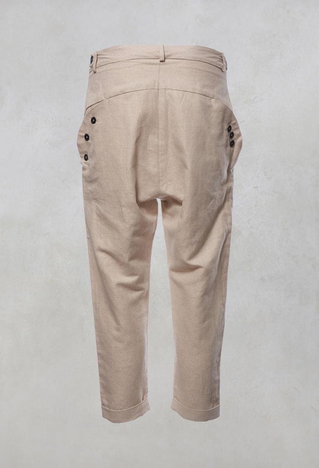 High Waisted Trousers with Button Front and Tie Waist in Naturel
