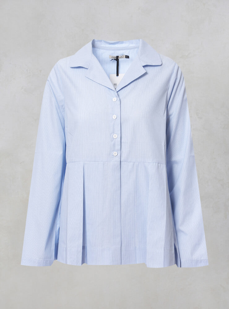Shirt with Pleated Peplum in Blue