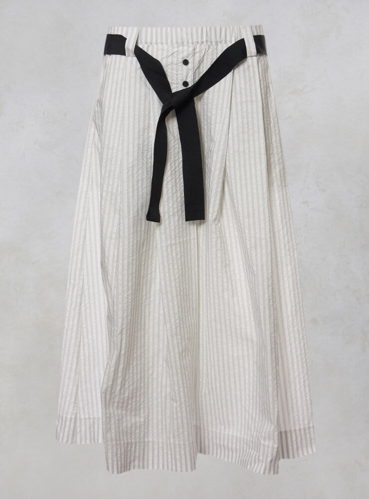 Midi Skirt with Tie Waistband in White with Stripes