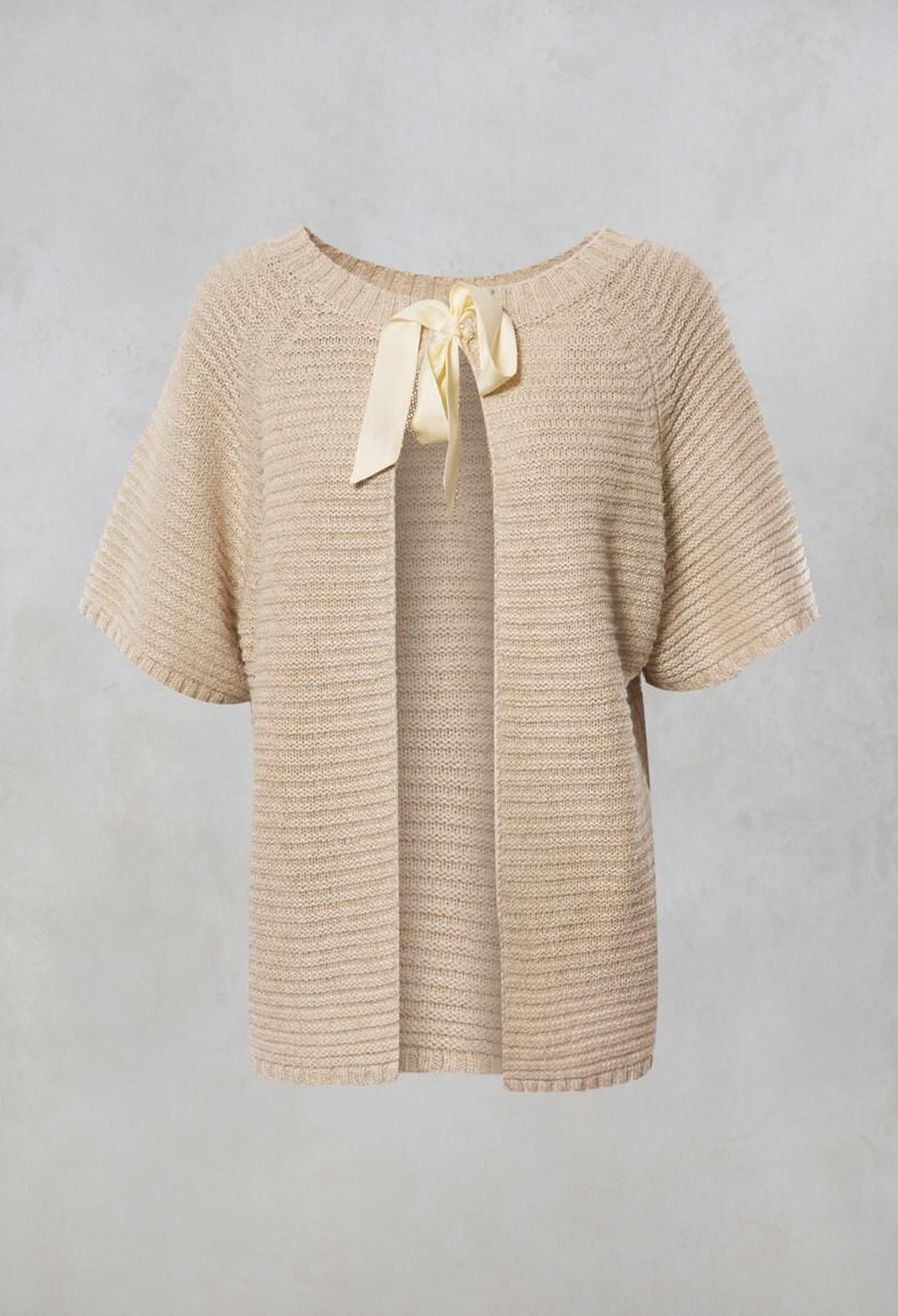 Ninon Knitted Top with Tie Back in Jute Lin