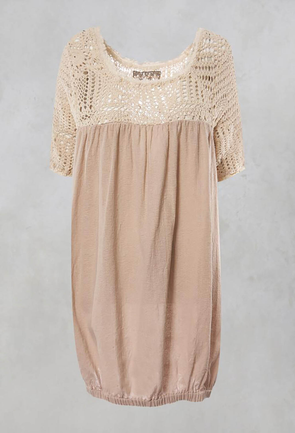 Aude Crochet Top with Contrast Fabric in Chambre Rose