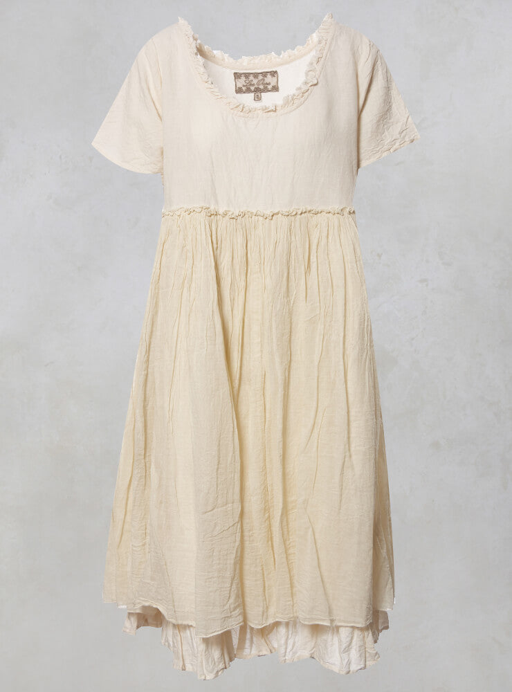 Molly Smock Dress with Ruffle Trim in Lin Ecru