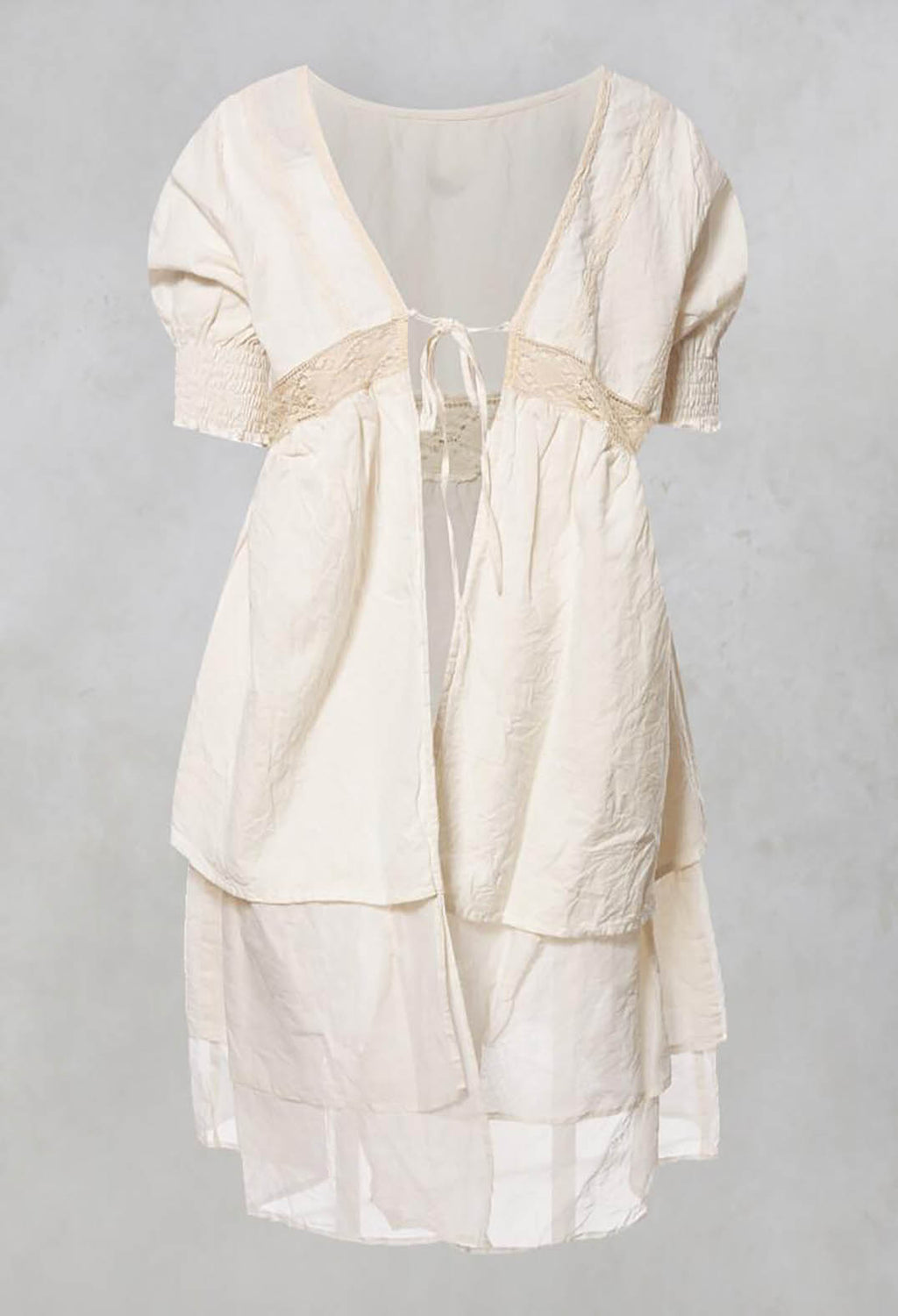 Anja Smock Top with Lace Detailing and Tie Back in Coton Ecru