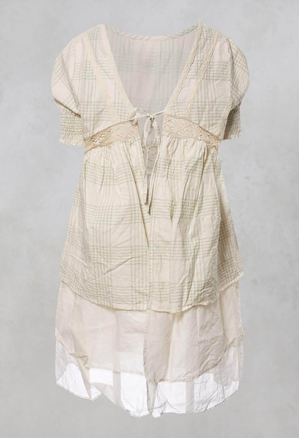Anja Smock Top with Lace Detailing and Tie Back in Coton Carreaux Vert Eau