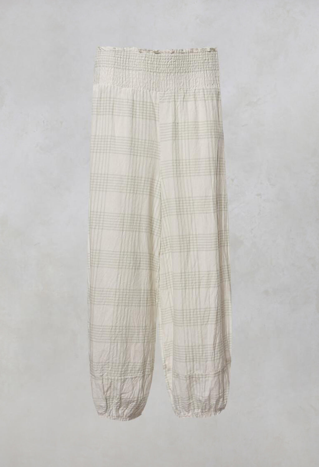 Gus Trousers with Elasticated Hem in Coton Carreaux Vert Eau