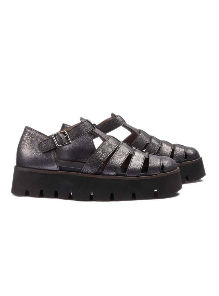 Chunky Gladiator Sandals in Ematite Piombo