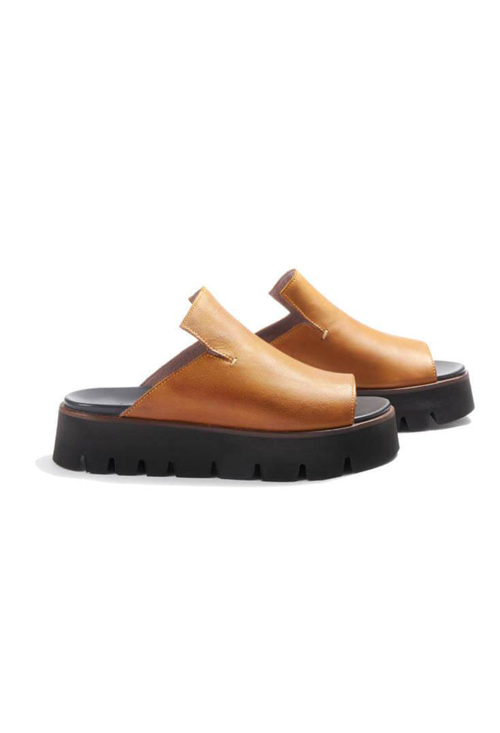 Chunky Slip On Sandals in Gasoline Ambra