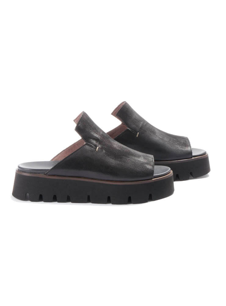 Chunky Slip On Sandals in Gasoline Nero