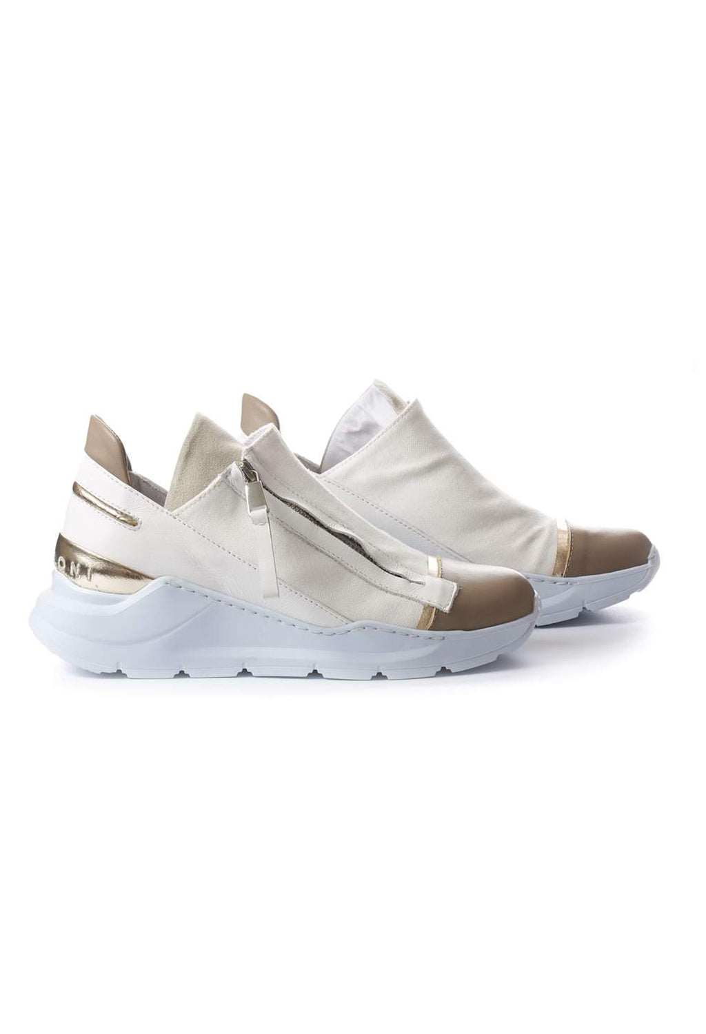 Chunky Slip On Trainers with Metallic Detail in Pamplona Corda / Pamplona Bianco / Nalux Argento