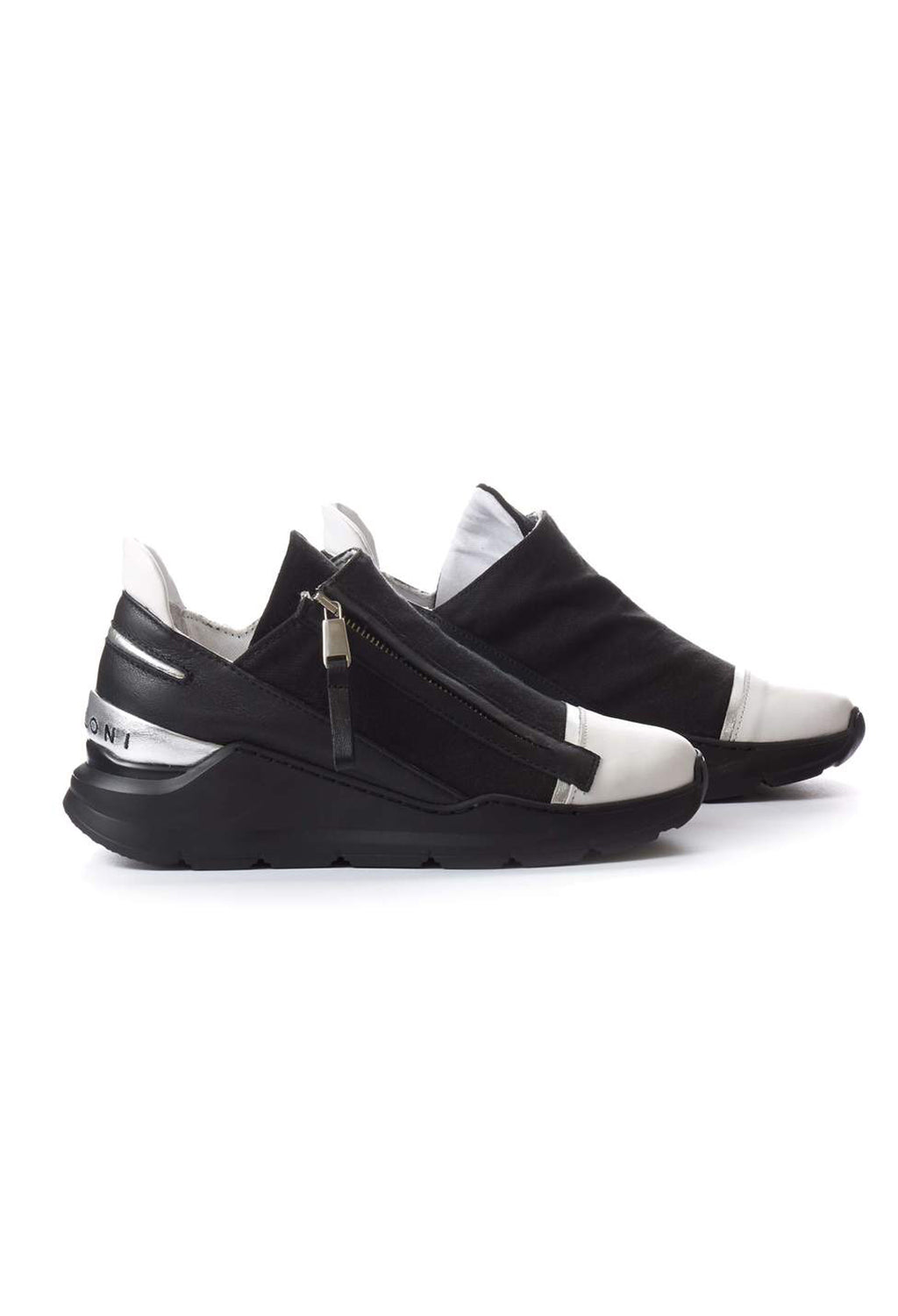 Chunky Slip On Trainers with Metallic Detail in Pamplona Bianco / Pamplona Nero / Nalux Argento