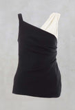 Ruched Sleeveless Top with Contrast Strap in Clesi Nero / Clesi Latte