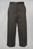 Cropped Wide Fit Striped Tailored Trousers in Balinese Fango