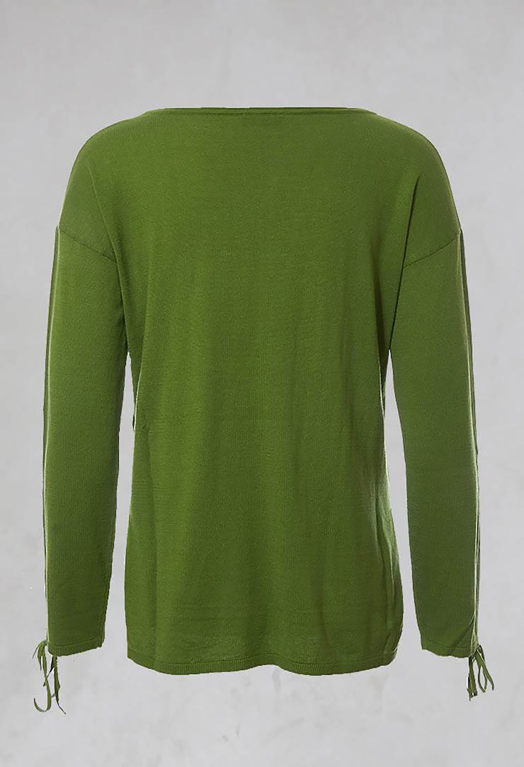 Fine Knit Top with Tie Sleeves in Verde Muschio