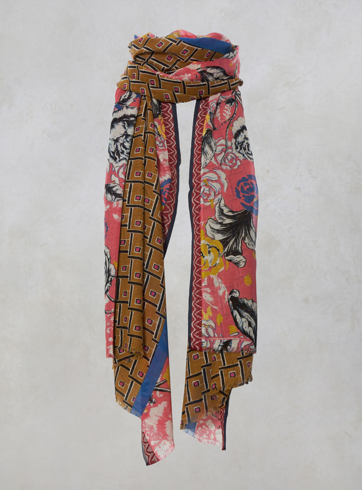 Cotton Scarf with Contrast Print in Senape/Rosa